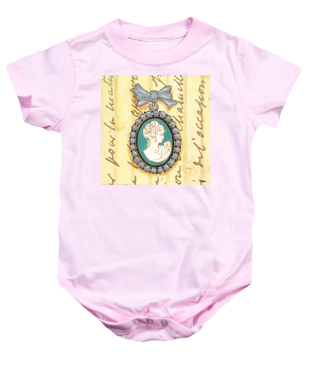Cameo Baby Onesie featuring the painting French Cameo 1 by Debbie DeWitt