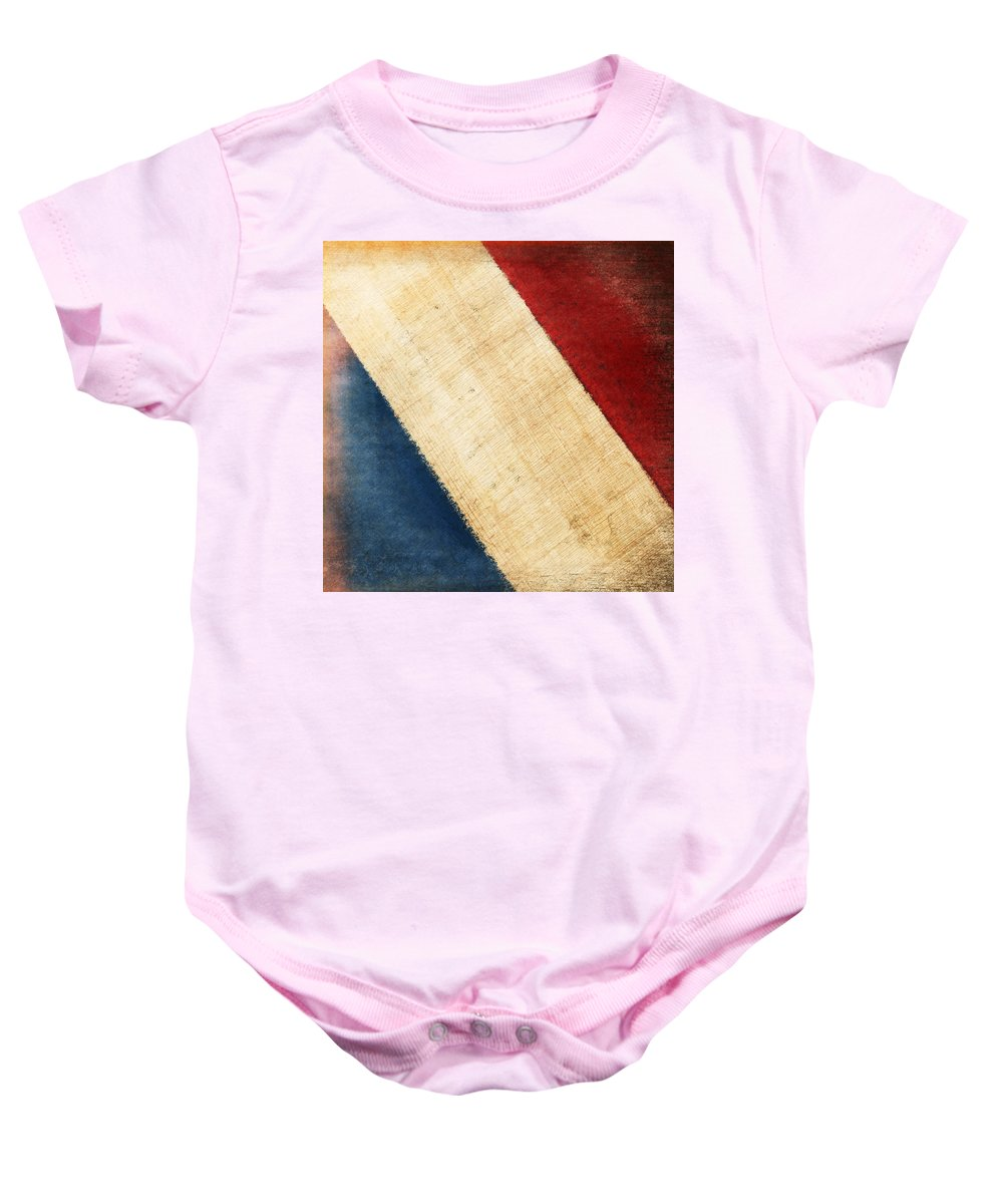 Aged Baby Onesie featuring the photograph French Flag by Setsiri Silapasuwanchai