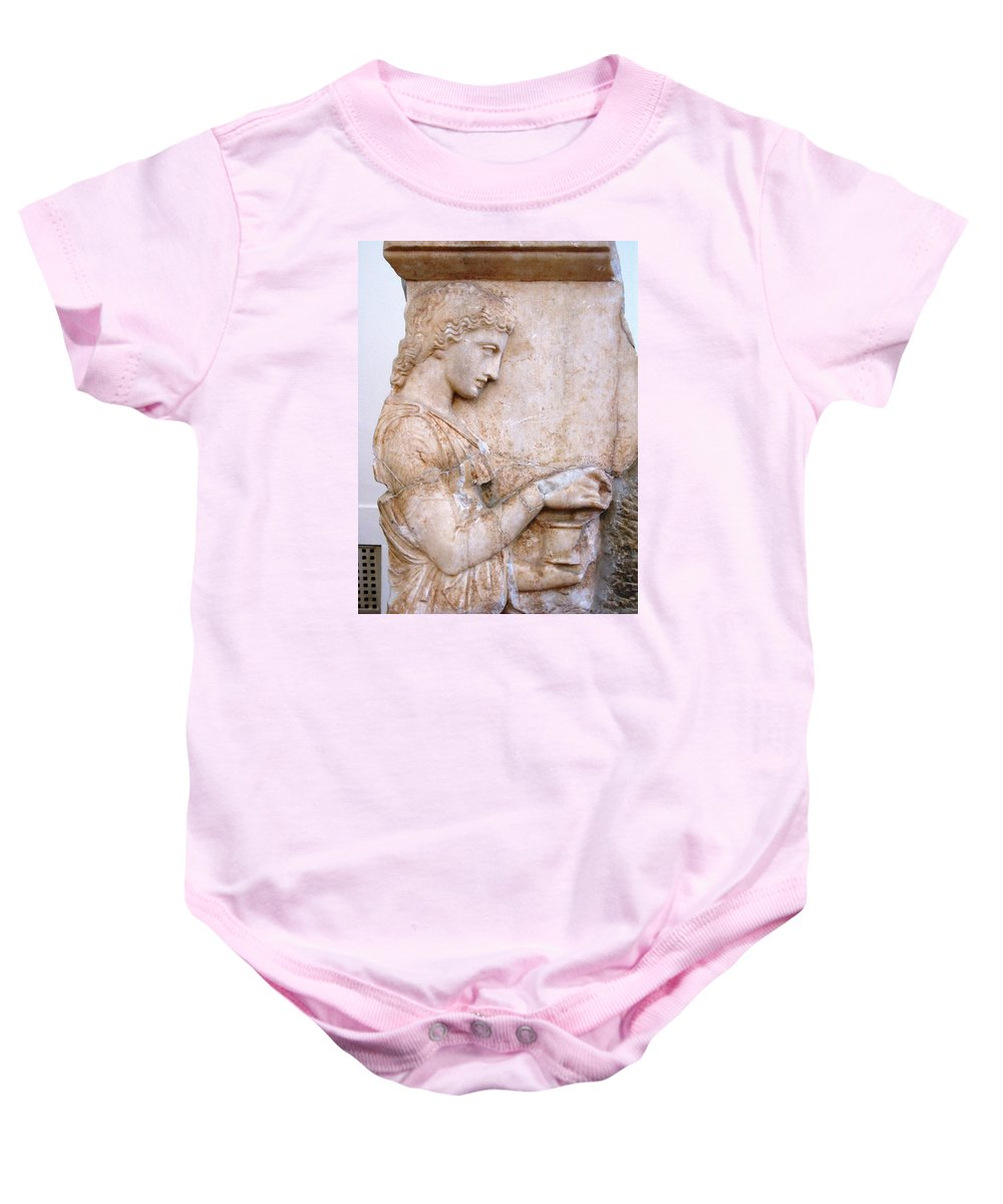 Girl Holding Chest Baby Onesie featuring the photograph Girl Holding Chest by Andonis Katanos