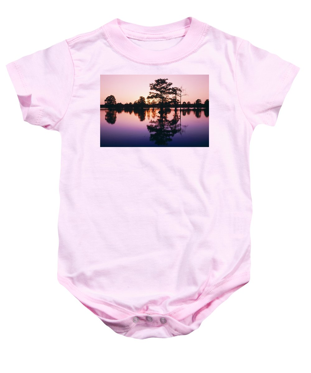 Beauty In Nature Baby Onesie featuring the photograph Horseshoe Lake At Dusk by Bilderbuch