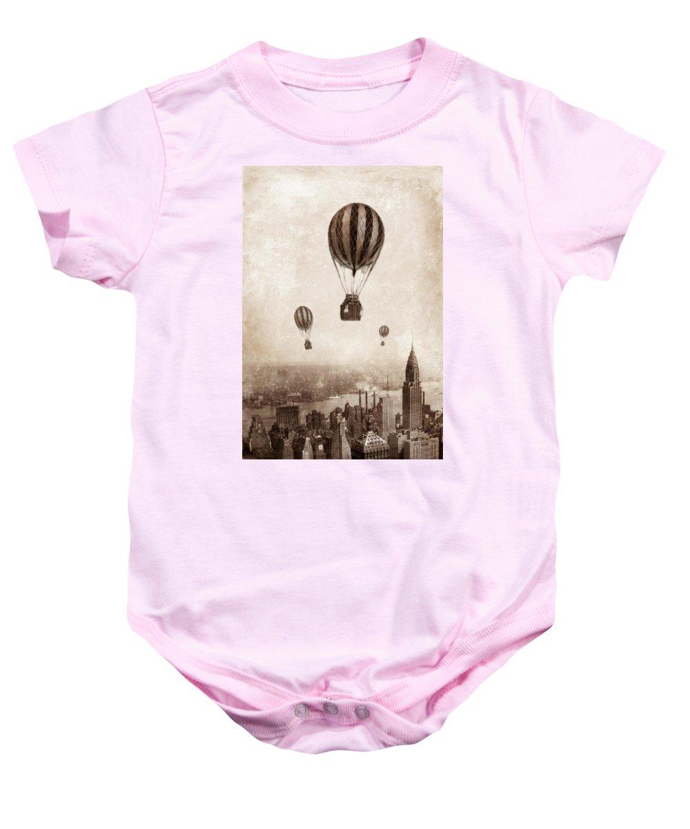 Balloon Baby Onesie featuring the photograph Hot Air Balloons Over 1949 New York City by Jill Battaglia