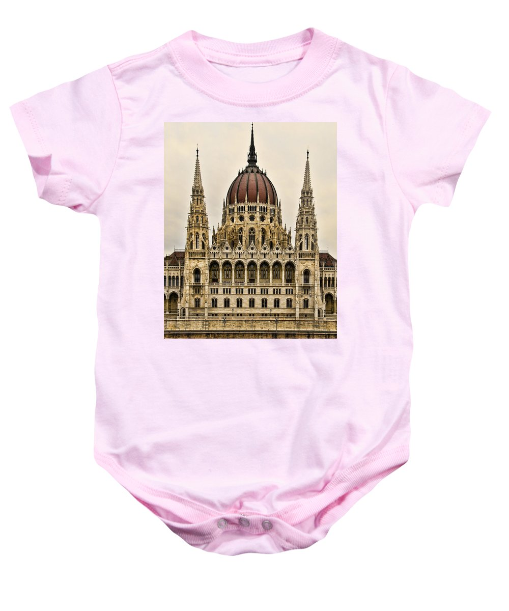 Parliment Building Baby Onesie featuring the photograph Hungarian Parliment Building by Jon Berghoff