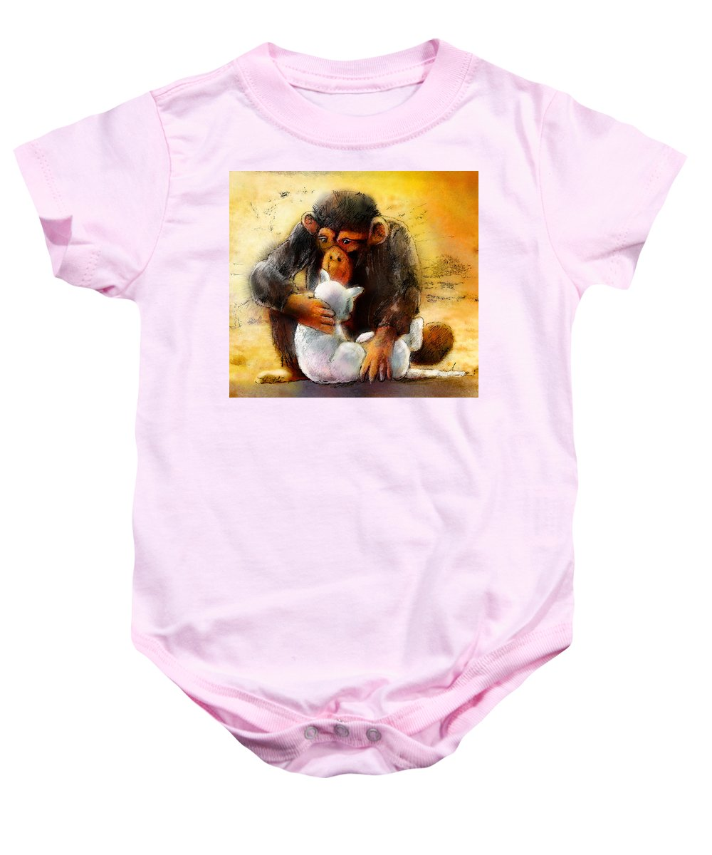 Animals Baby Onesie featuring the painting I Love You So Much Babe by Miki De Goodaboom