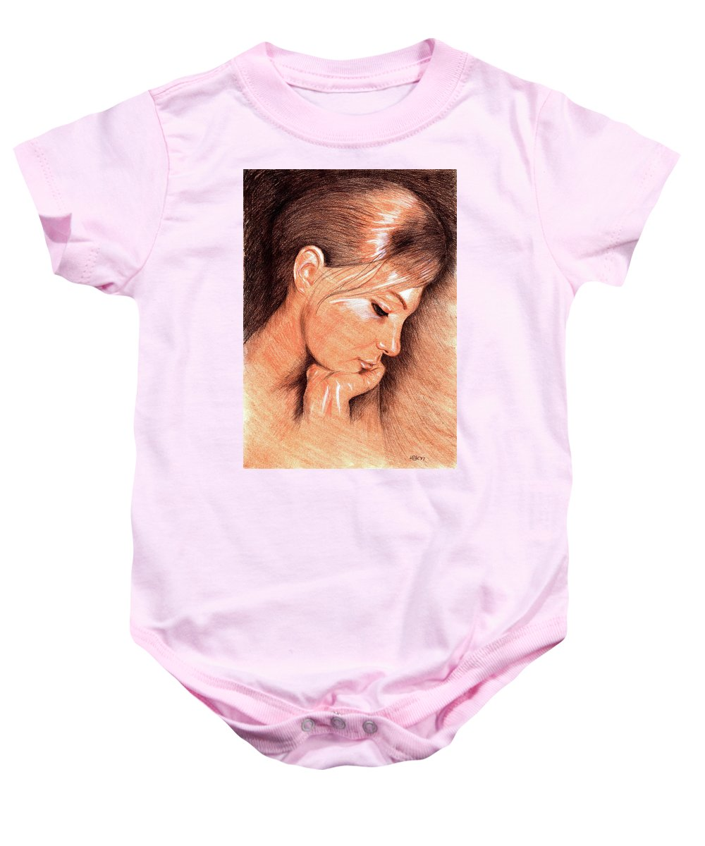 Hakon Baby Onesie featuring the drawing Jenny by Hakon Soreide