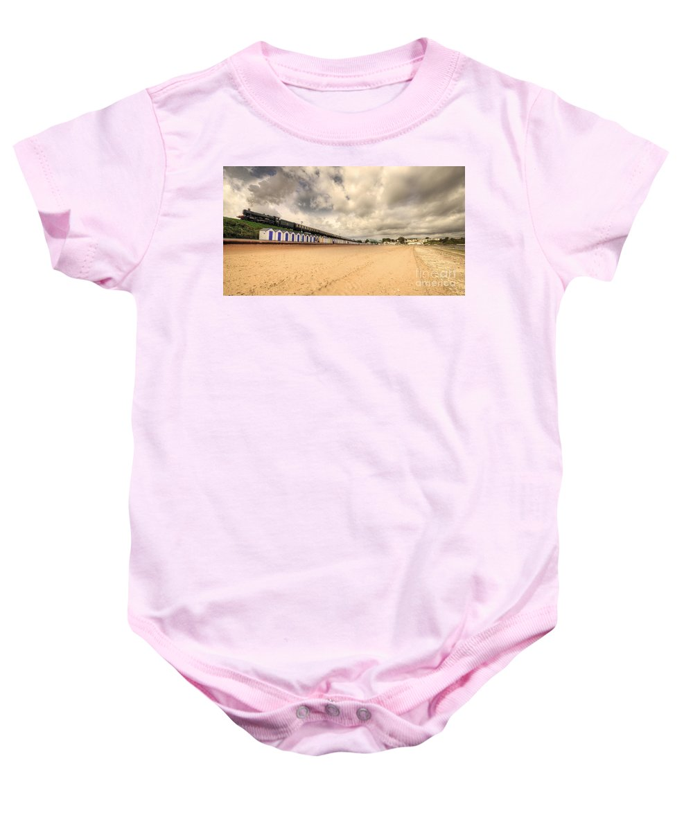 Kinlet Baby Onesie featuring the photograph Kinlet Hall At Goodrington Sands by Rob Hawkins