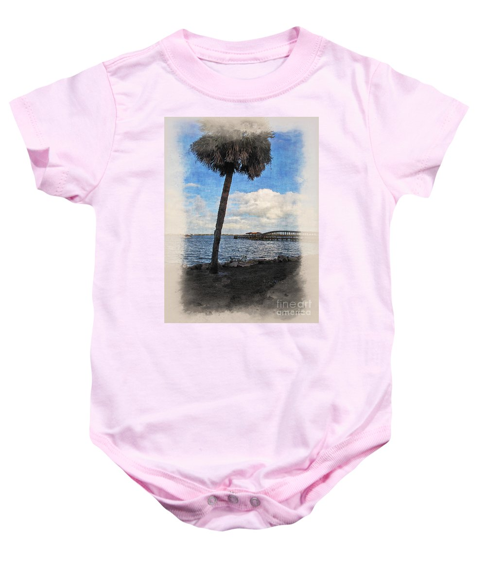 Palm Tree Baby Onesie featuring the photograph Lone Palm Tree by Joan Minchak