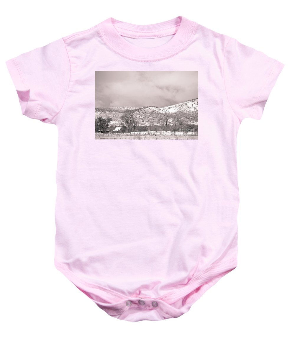 'low Clouds' Baby Onesie featuring the photograph Low Clouds On The Colorado Rocky Mountain Foothills 3 Bw by James BO Insogna