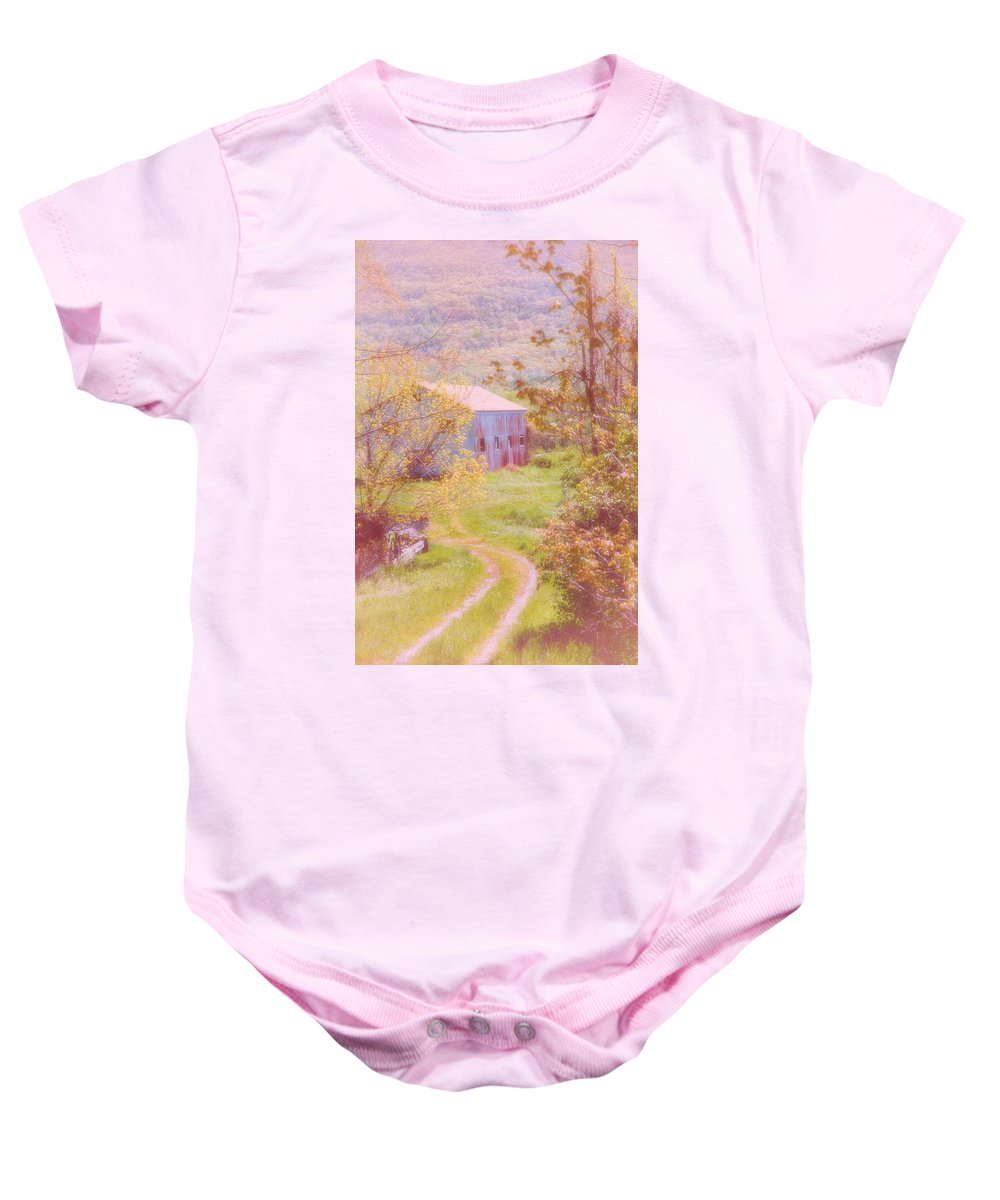 Landscape Baby Onesie featuring the photograph Memories Of The Farm by Karol Livote