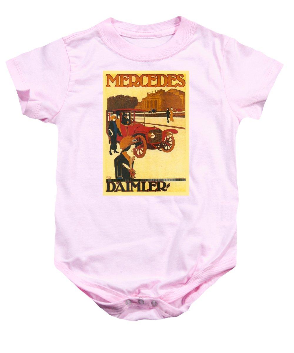 Mercedes Baby Onesie featuring the digital art Mercedes Daimler by Georgia Fowler