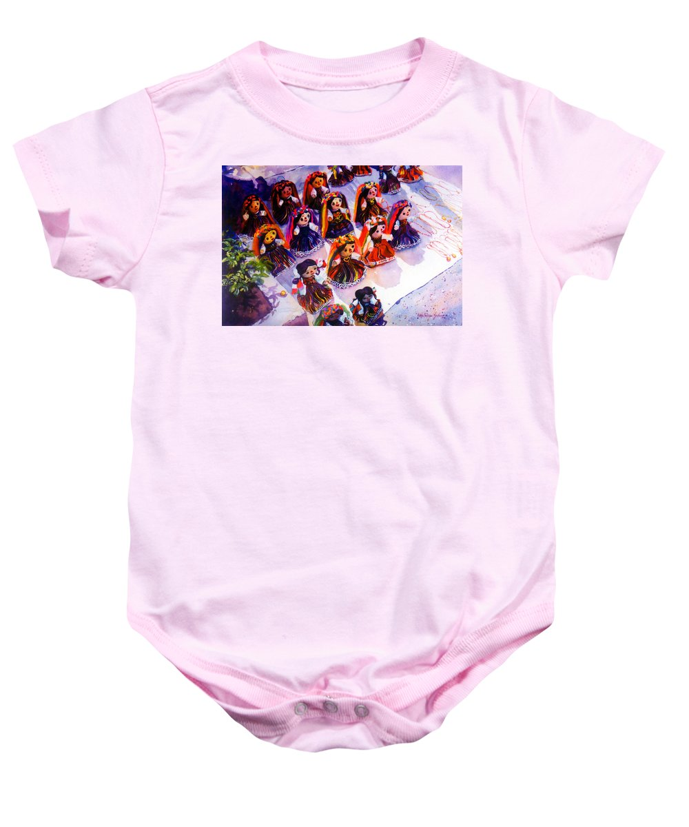 Mexico Paintings Baby Onesie featuring the painting Mexican Dolls by Estela Robles