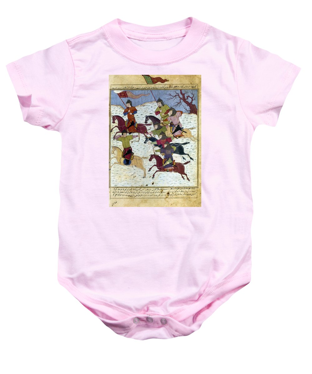 1400 Baby Onesie featuring the photograph Mongol Battle, C1400 by Granger