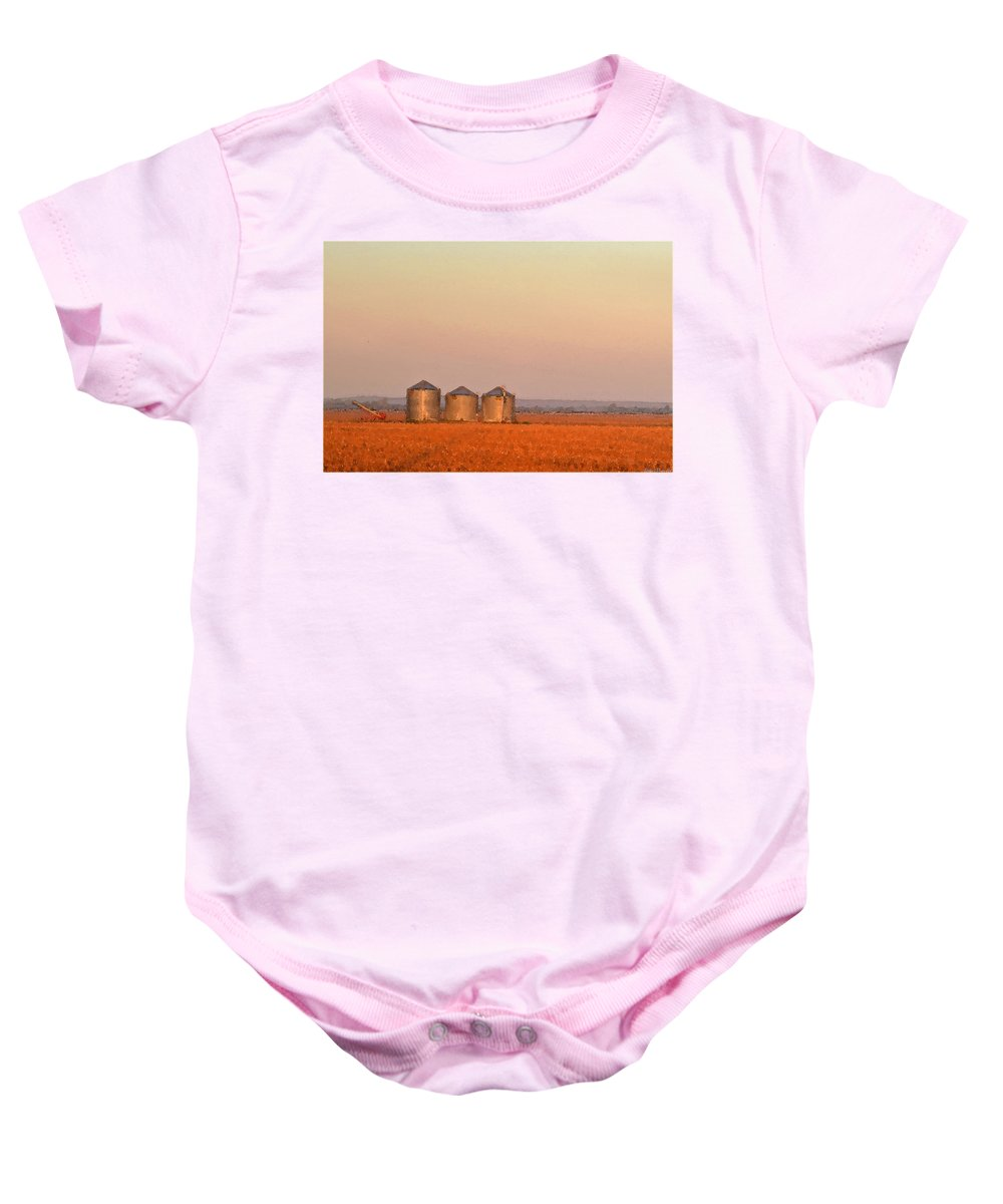 Sun Baby Onesie featuring the photograph Morning At The Farm Watercolor Photoart by Debbie Portwood
