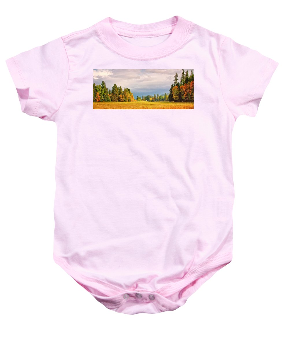 Autumn Color Baby Onesie featuring the photograph Morning On The Dufort by Albert Seger