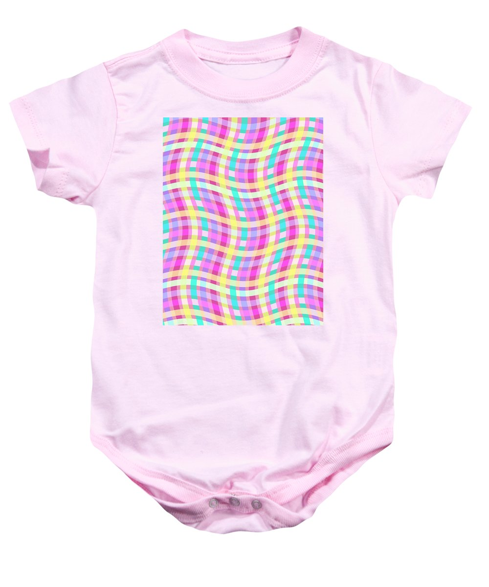 Multi Check Baby Onesie featuring the digital art Multi Check by Louisa Knight