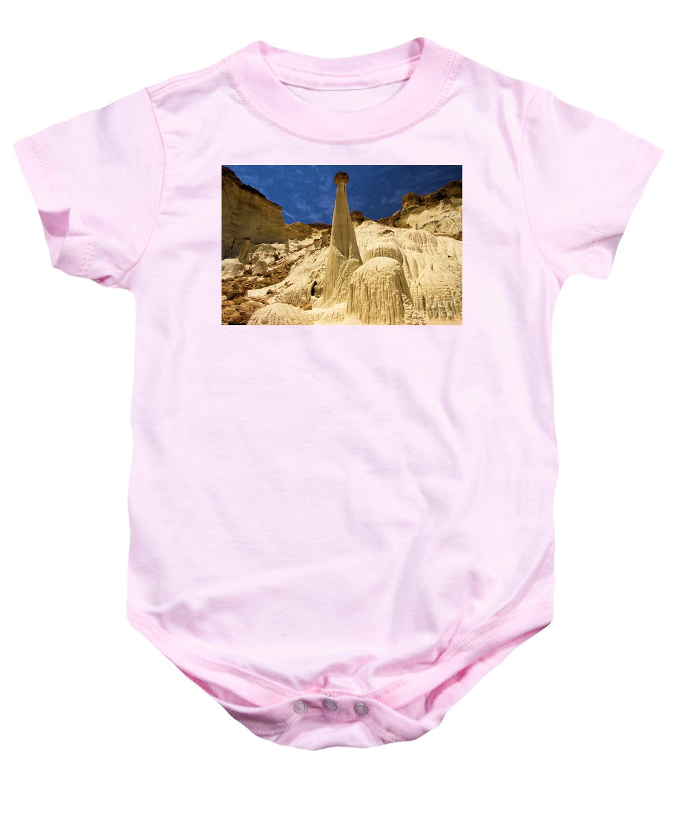 Wahweap Hoodoos Baby Onesie featuring the photograph Natures Sculpture by Adam Jewell