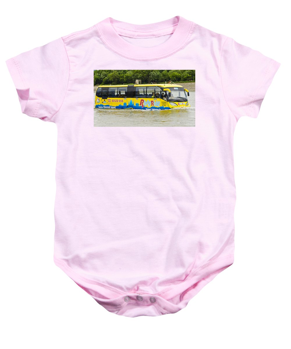 Budapest Baby Onesie featuring the photograph Novel River Boat by Jon Berghoff