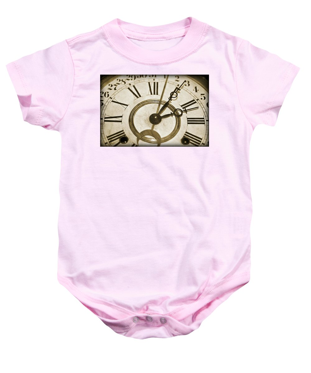 Clock Baby Onesie featuring the photograph Old Time by Susan Leggett