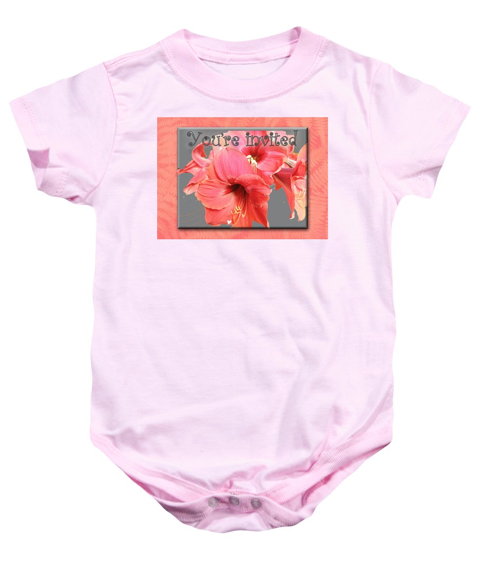 Invitation Baby Onesie featuring the photograph Party Invitation - Amaryllis Flowers by Mother Nature