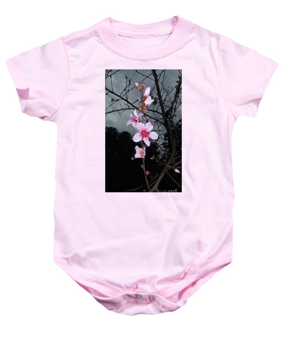 Peach Blooms Baby Onesie featuring the photograph Peach Blooms by Donna Brown