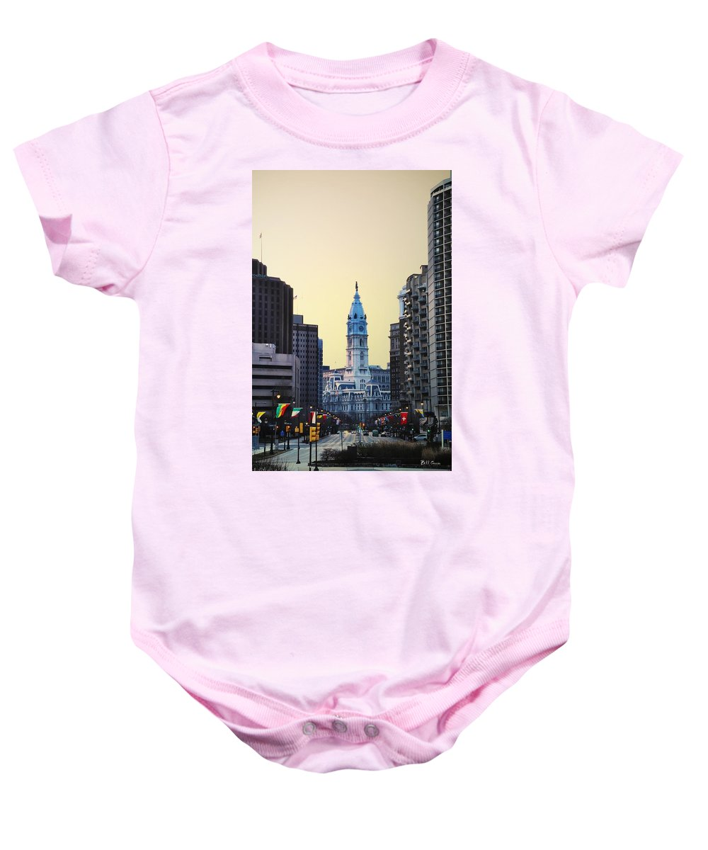 Philadelphia Cityhall At Dawn Baby Onesie featuring the photograph Philadelphia Cityhall At Dawn by Bill Cannon