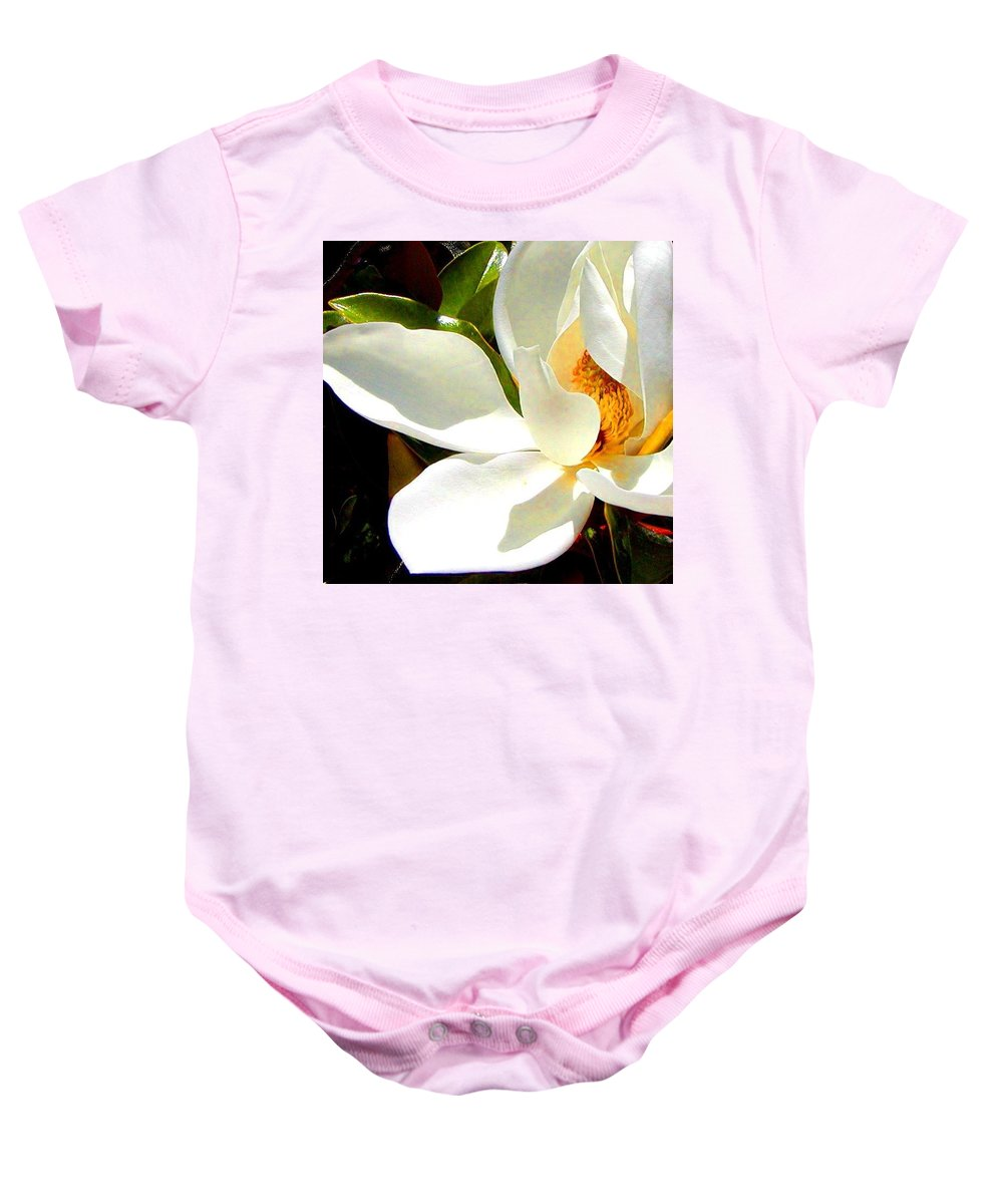 Roena King Baby Onesie featuring the photograph Photo For Sydneys Magnolia Painting by Roena King