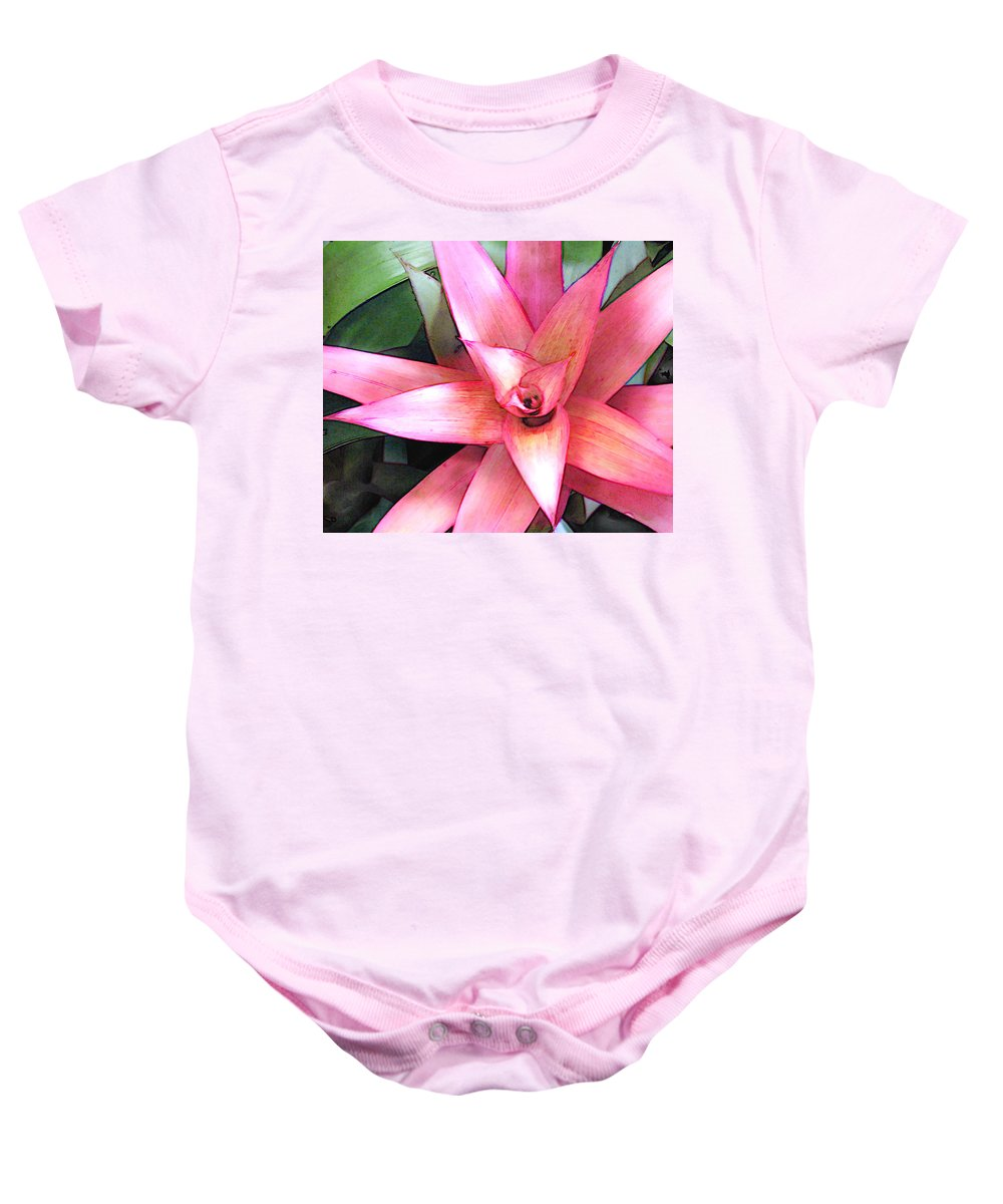 Flower Flowers Garden Bromeliads Bromeliad Succulent Flora Floral Nature Natural Baby Onesie featuring the painting Pink Bromeliad by Elaine Plesser