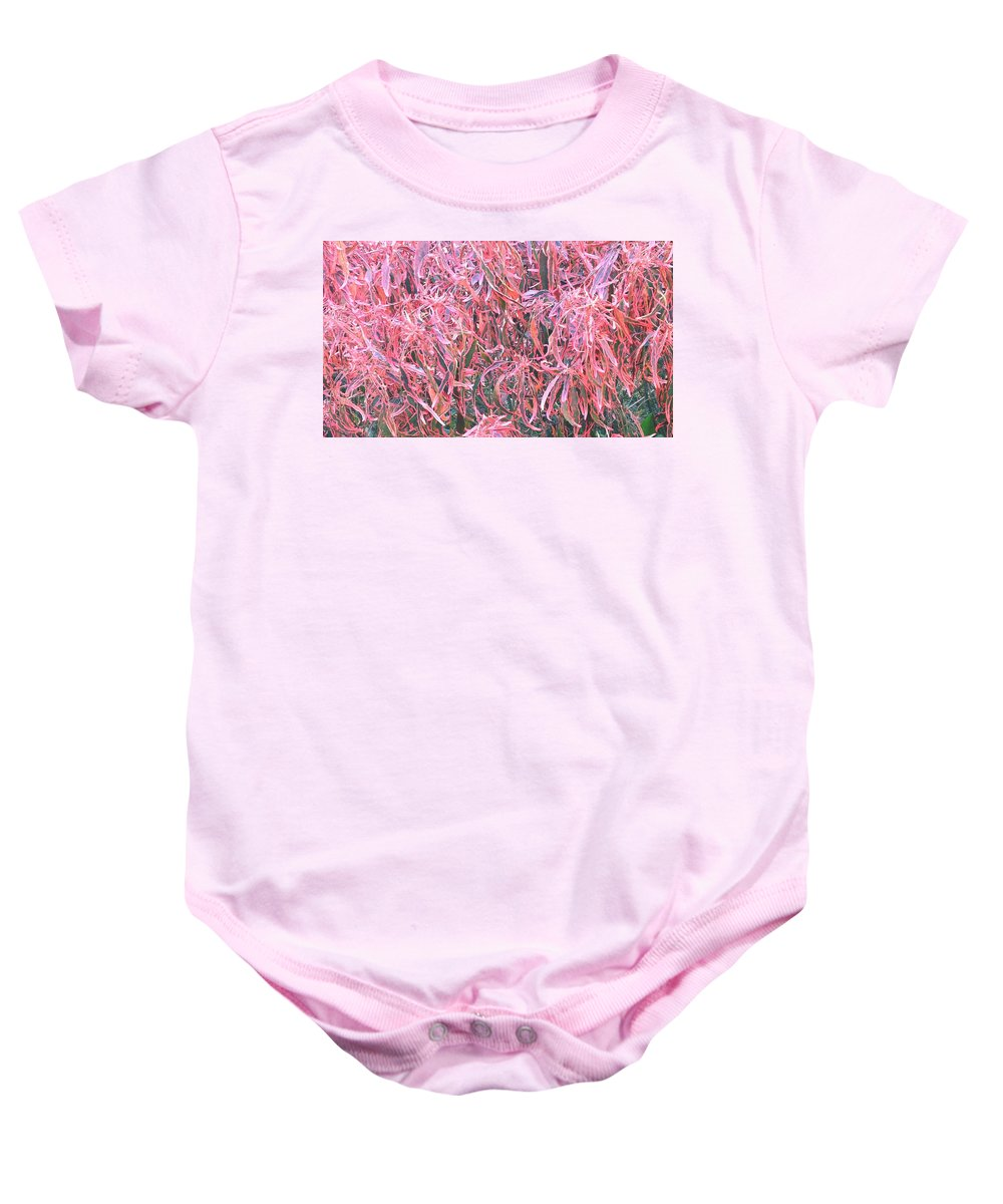 Pink Crotons Baby Onesie featuring the painting Pink Crotons by Usha Shantharam