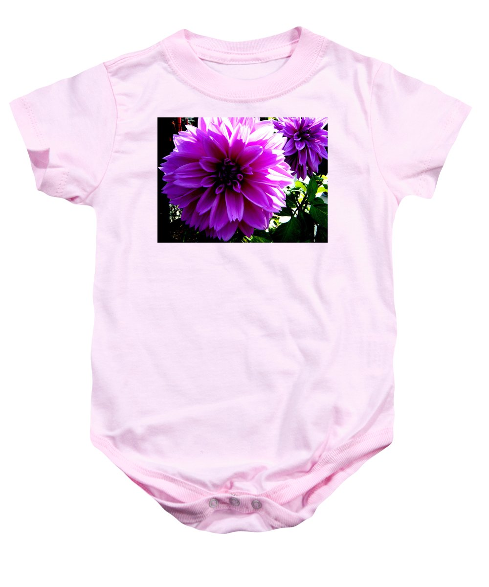 Landscape Baby Onesie featuring the photograph Purple Dahlia by April Patterson