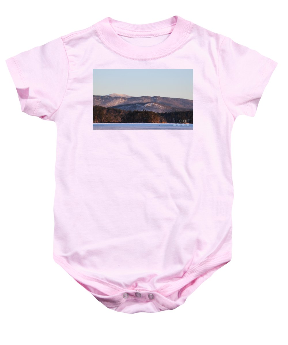 Big Squam Lake Baby Onesie featuring the photograph Rattlesnake Mtn. by Michael Mooney