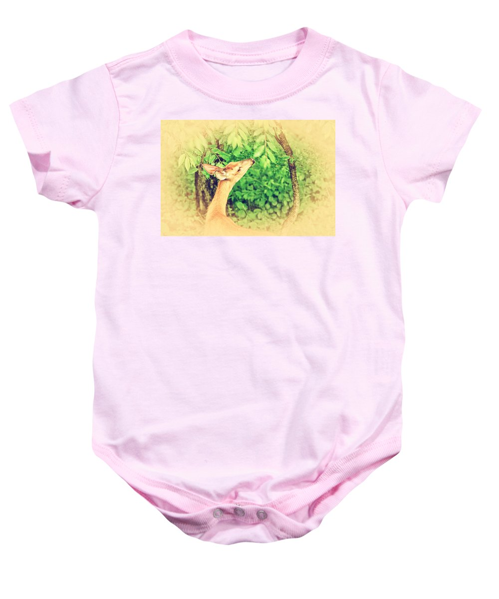 Bambi Baby Onesie featuring the photograph Reaching by Karol Livote