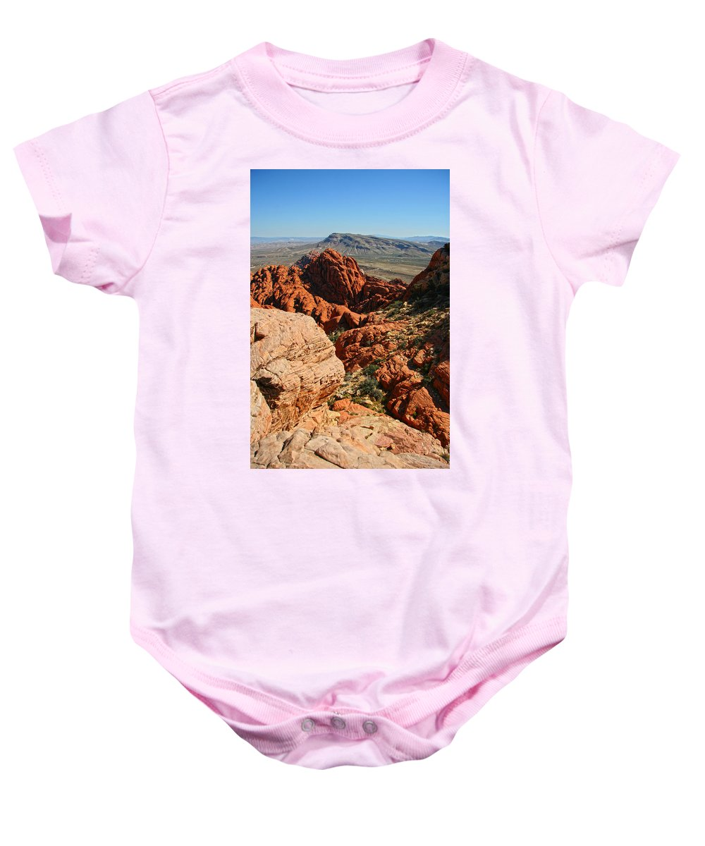 Red Rock Canyon Baby Onesie featuring the photograph Red Rock Canyon At The Tank by Chris Brannen