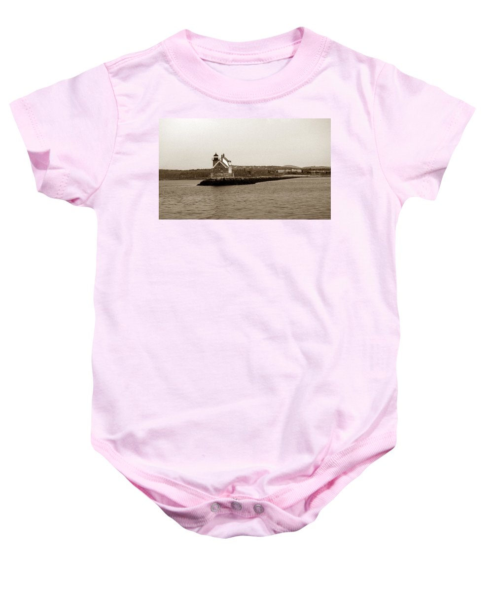 Me Baby Onesie featuring the photograph Rockland Breakwater Lighthouse by Skip Willits