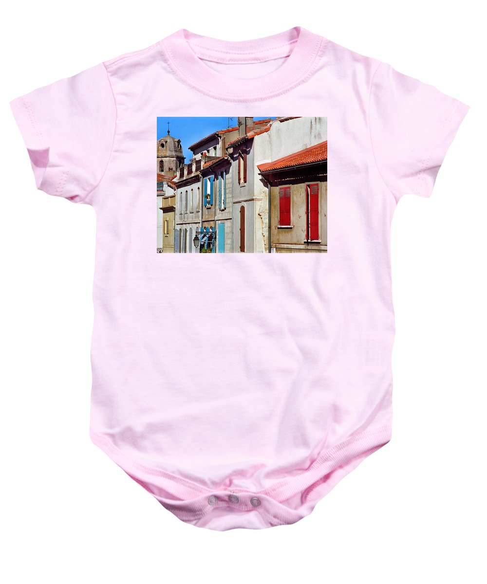 Arles Baby Onesie featuring the photograph Row Of Houses In Arles Provence by Greg Matchick
