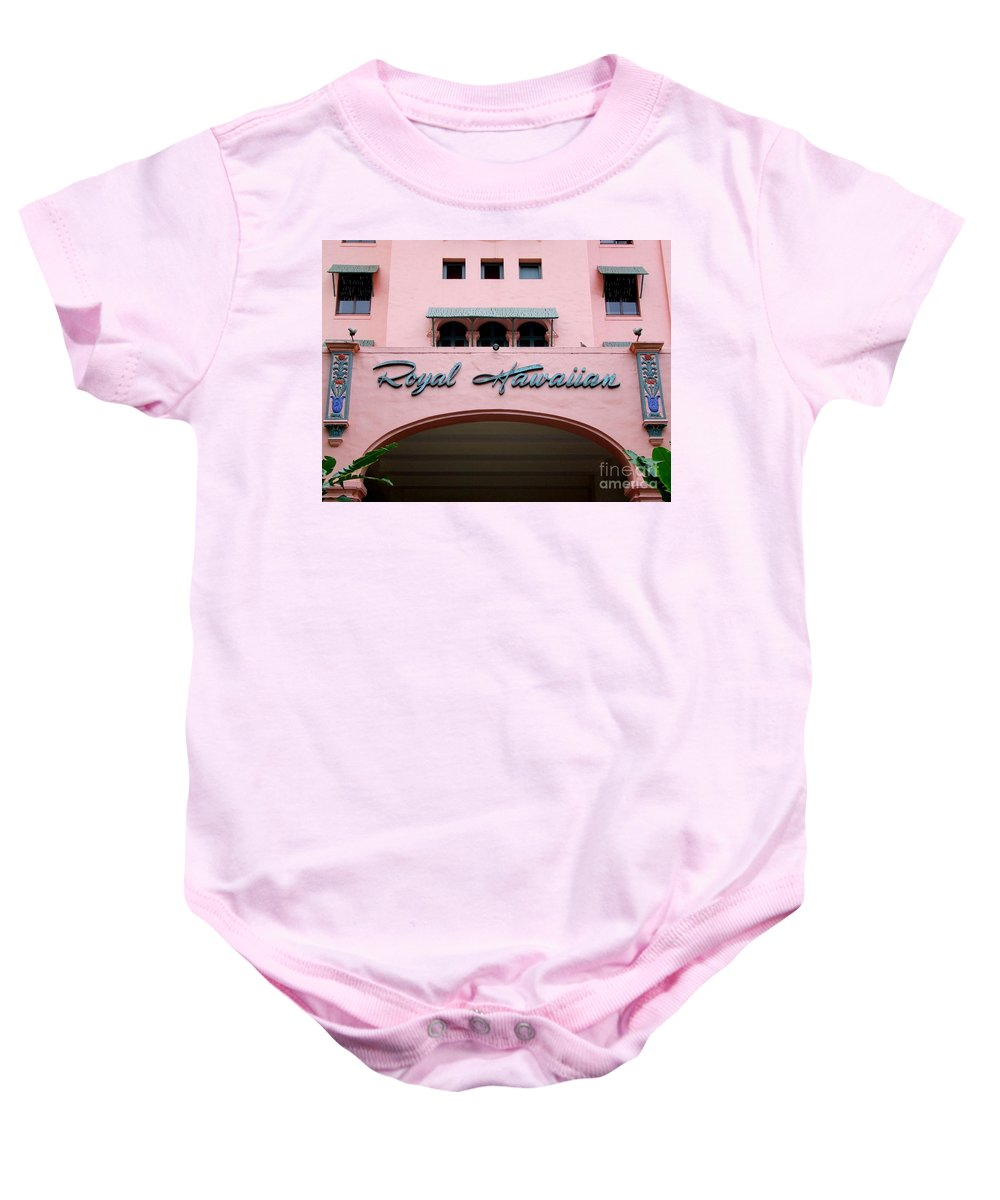 Royal Hawaiian Hotel Baby Onesie featuring the photograph Royal Hawaiian Hotel Entrance Arch by Mary Deal