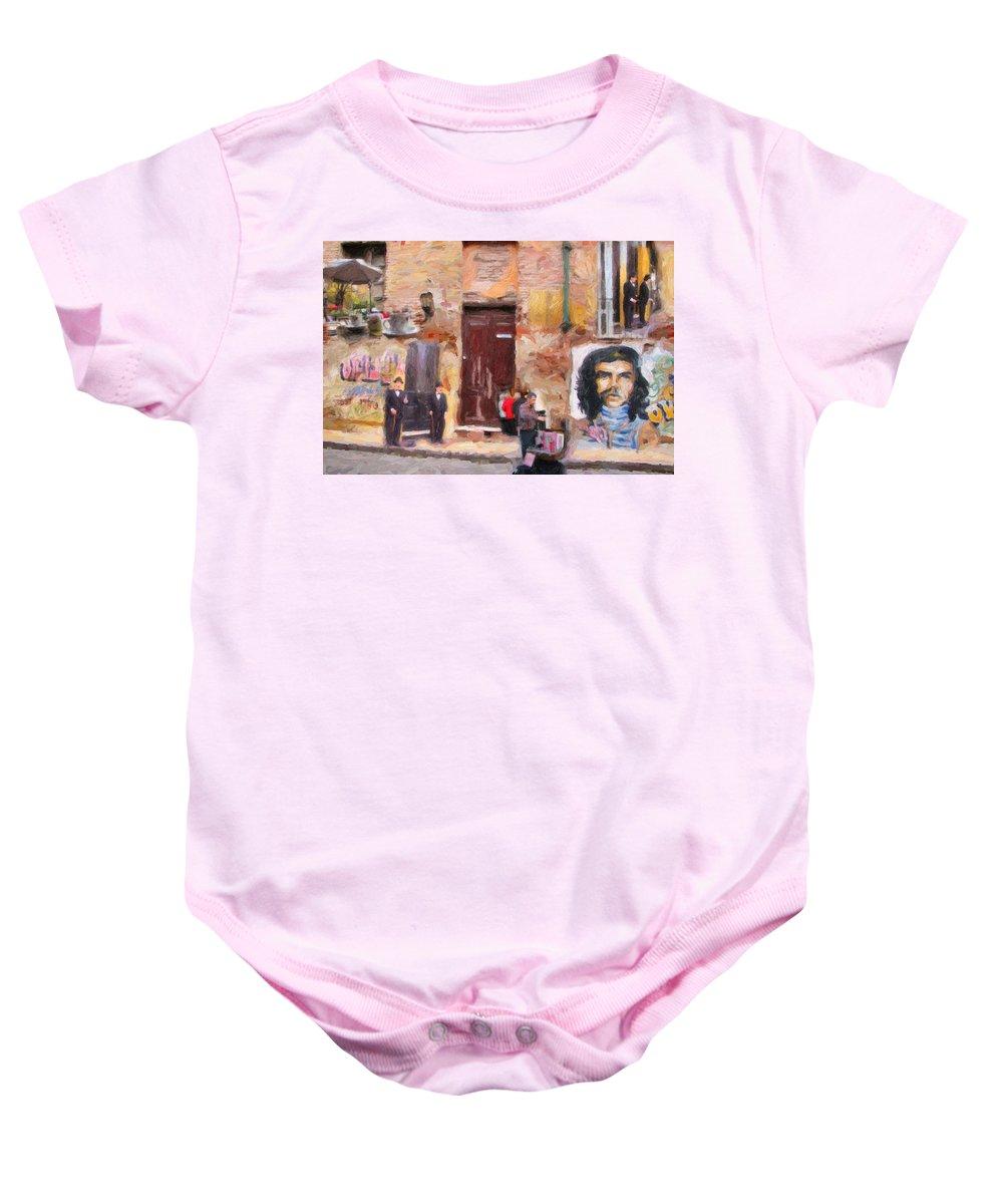 San Telmo Baby Onesie featuring the digital art San Telmo Souvenir by Diane Dugas