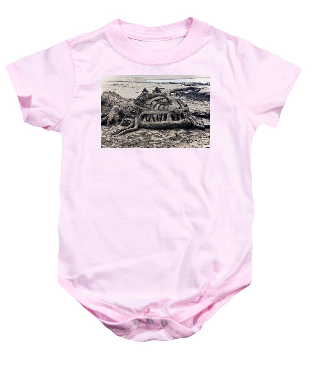 Sand Baby Onesie featuring the photograph Sand Dragon Sculputure by Garry Gay