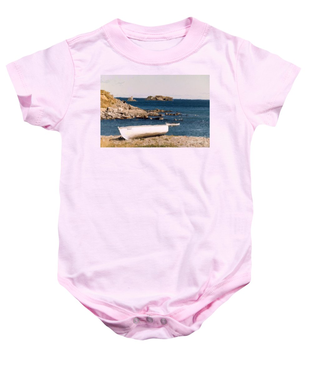 Scenery Baby Onesie featuring the photograph Shoreline Boat by Mary Mikawoz