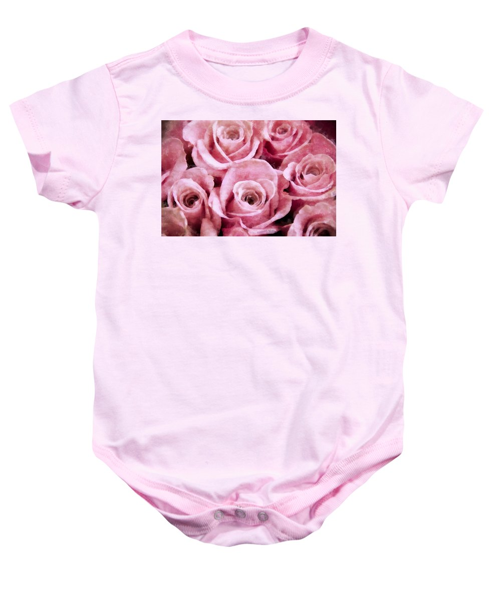 Pink Baby Onesie featuring the photograph Soft Pink Roses by Angelina Vick