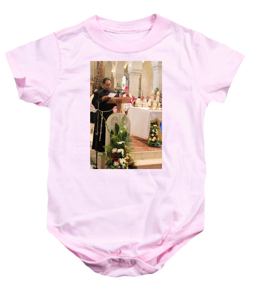 Nativity Baby Onesie featuring the photograph St. Catherine Church Mass by Munir Alawi