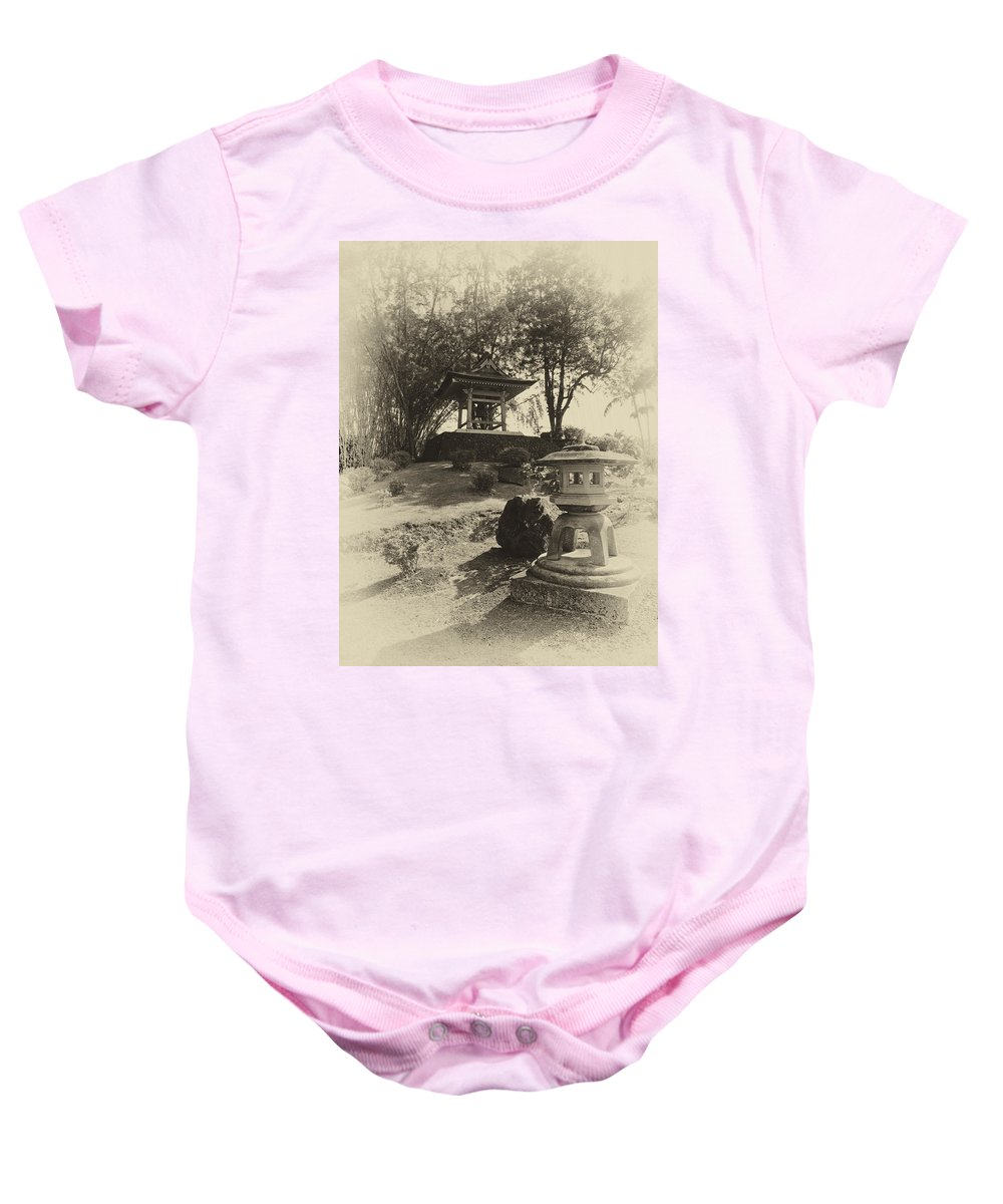 Hawaii Baby Onesie featuring the photograph Stone Lantern And Temple Bell by Daniel Hagerman