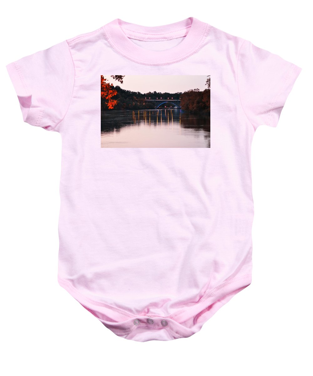 Strawberry Mansion Bridge At Dusk Baby Onesie featuring the photograph Strawberry Mansion Bridge At Dusk by Bill Cannon
