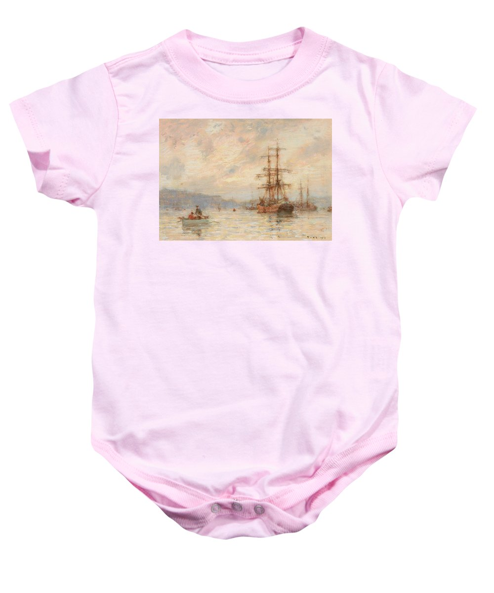 Sea; C19th; C20th; Sailing Ship; Rowing Boat; Boats; Seascape; Shipping; Ships; Masts; Mast; Silhouette; Henry Scott Tuke Baby Onesie featuring the painting Sundown by Henry Scott Tuke