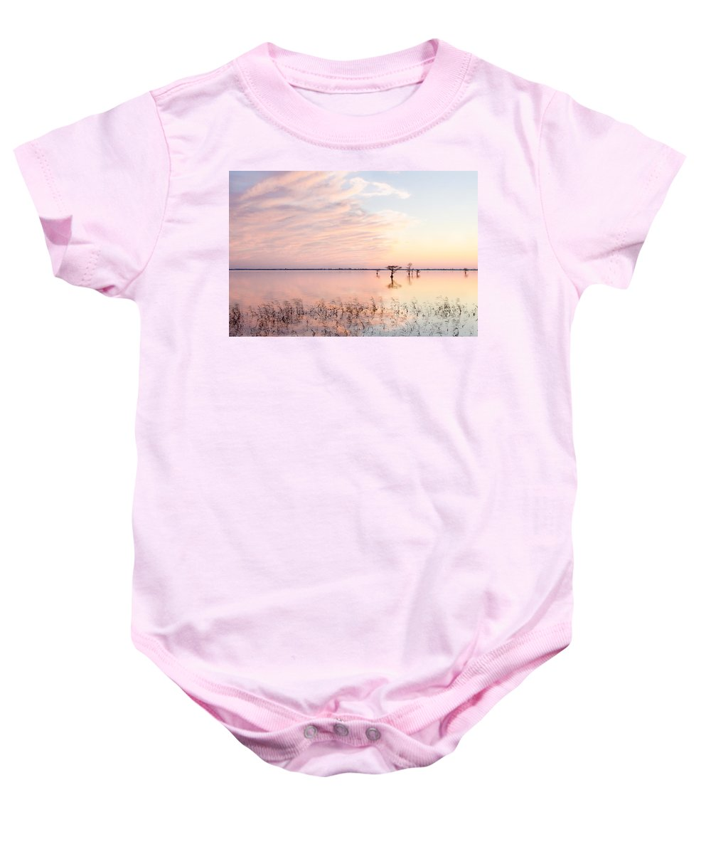 Sunset Baby Onesie featuring the photograph Sunset - Pretty In Pink by Bill Swindaman