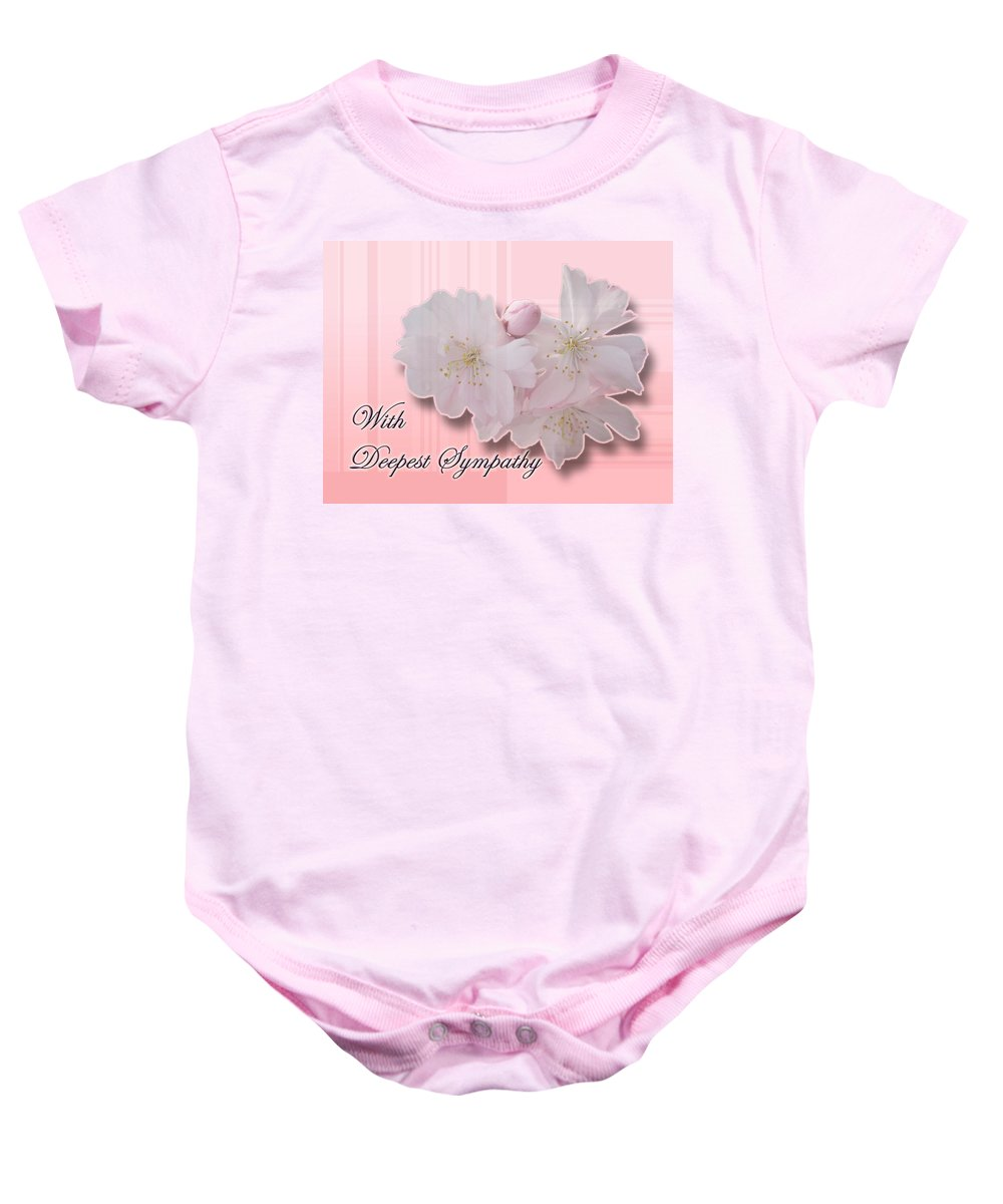 Sympathy Baby Onesie featuring the photograph Sympathy - Cherry Blossoms by Mother Nature