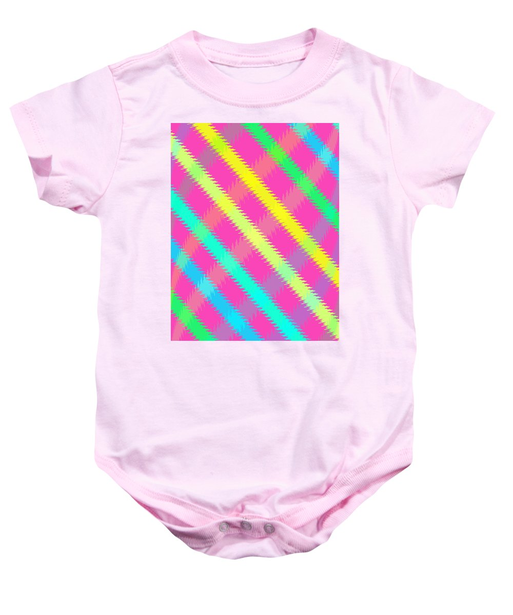 Textured Check (digital) By Louisa Knight (contemporary Artist) Baby Onesie featuring the digital art Textured Check by Louisa Knight