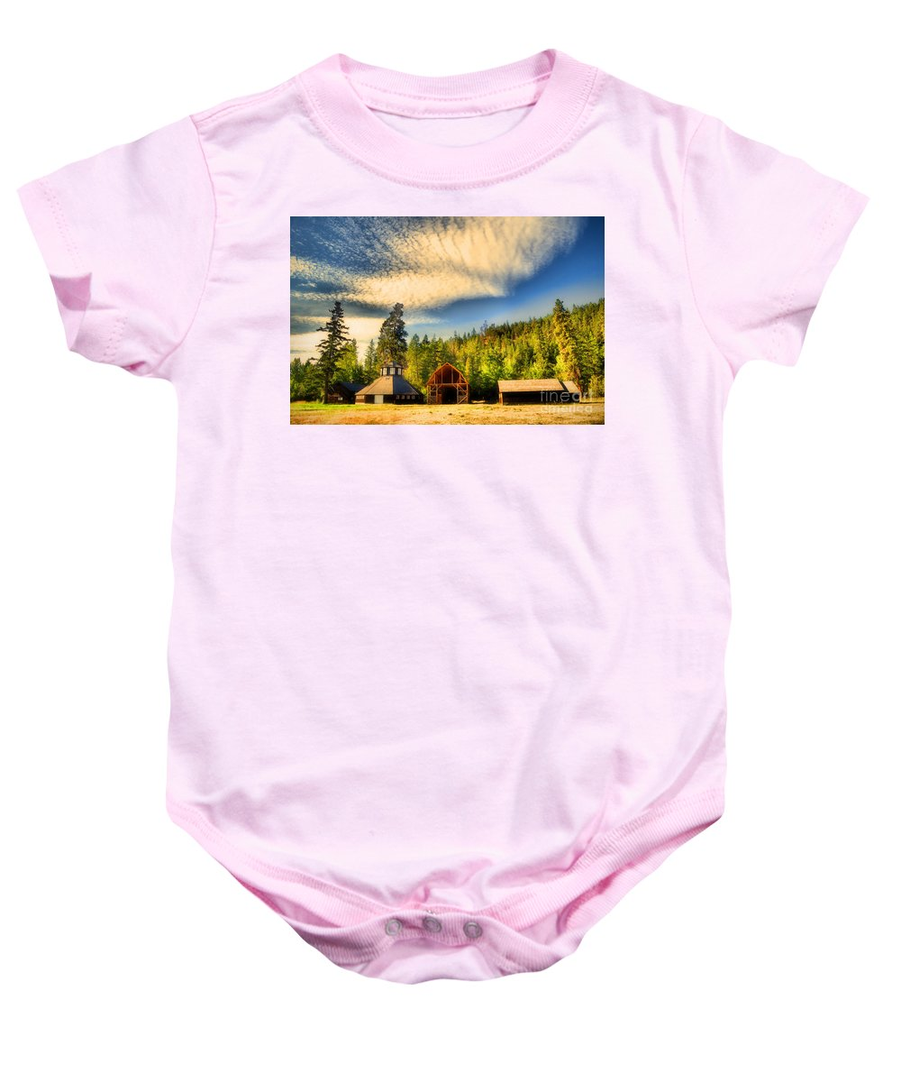 Barns Baby Onesie featuring the photograph The Fintry Barns by Tara Turner