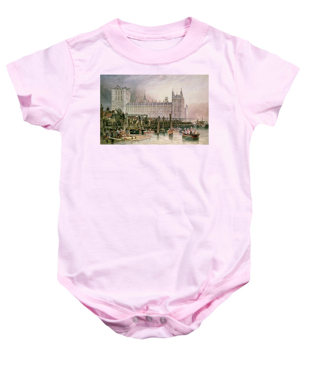 Construction Begun Baby Onesie featuring the painting The Houses Of Parliament In Course Of Erection by John Wilson Carmichael