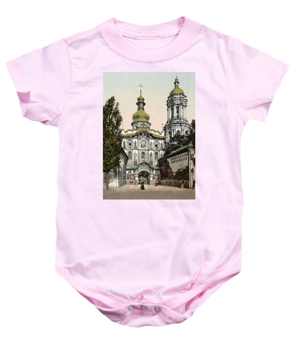 Lavra Baby Onesie featuring the photograph The Lavra Gate - Kiev - Ukraine - Ca 1900 by International Images