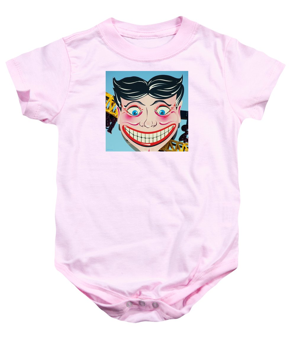 Brooklyn Baby Onesie featuring the photograph TILLIE THE CLOWN of CONEY ISLAND by Rob Hans