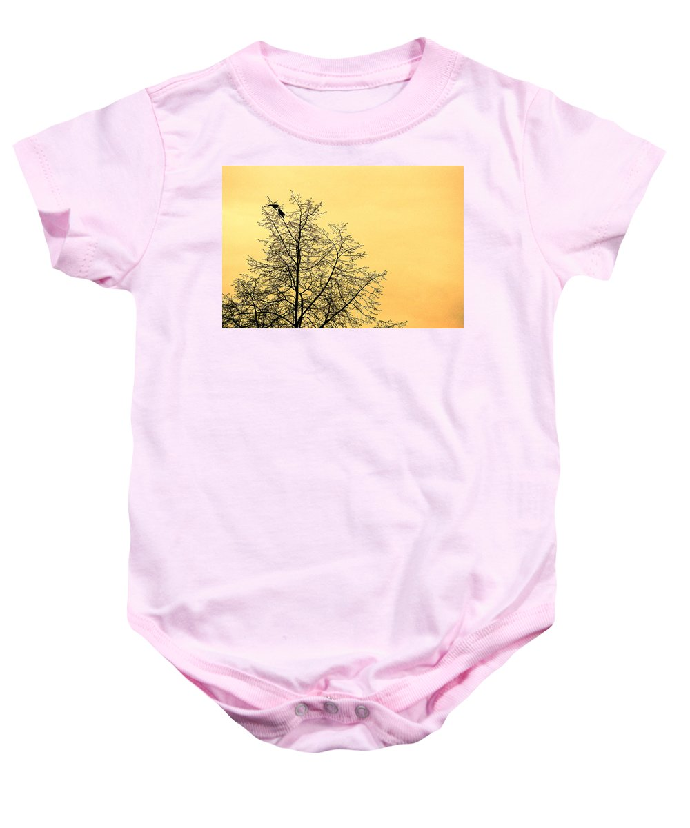 Two Birds In A Tree Baby Onesie featuring the photograph Two Birds In A Tree by Mike Penney